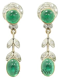 Other Antique 18k Gold Drop Shaped Stud Earring With Green Emerald 0.15 Ct Diamond