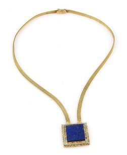Antique 18k Yellow Gold Lapis Enamel Square Top Necklace