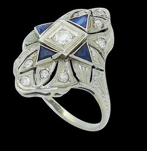 Antique Art Deco 18k White Gold 0.65 Cts Tcw Diamond Blue Sapphire Ring R632