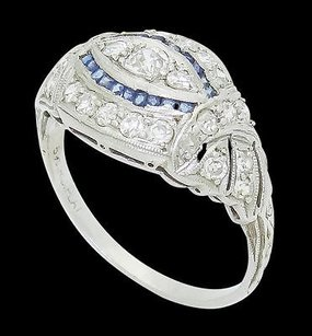Antique Platinum 0.55 Tcw Vs-si G Diamond Blue Sapphire Openwork Ring R626