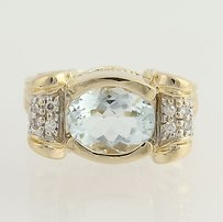 Other Aquamarine Diamond Ring - 14k Yellow White Gold March 3.18ctw