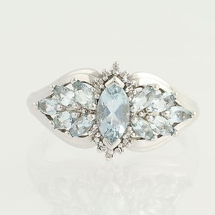 Aquamarine Ring - 10k White Gold Diamond Accents 1.30ctw