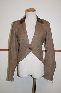 Aristocracy Brown Wool Long Sleeve One Button Collared Blazer 21630
