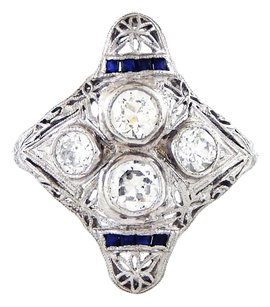 Other Art Deco Antique Vintage Platinum Sapphires Old Miners Diamond Ring