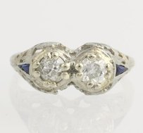 Other Art Deco Diamond Synthetic Sapphire Ring - 14k White Gold Cocktail .75ctw