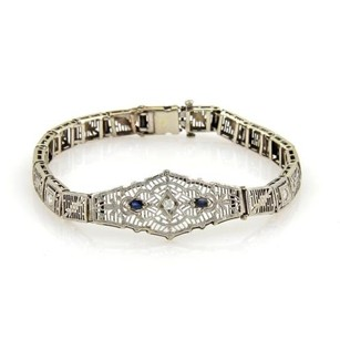 Other Art Deco Diamonds Sapphire 14k White Gold Filigree Floral Bracelet