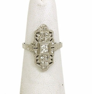Art Deco Styled 18k Gold Diamonds Ladies Dress Ring-size 6.25