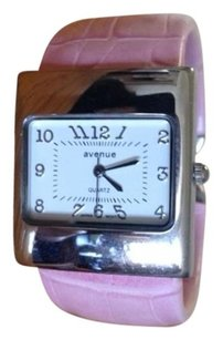 Avenue Silver Square Case and PInk Embossed Cuff Watch