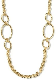 Banana Republic Rattan Textured Gold Long Link Chain Necklace