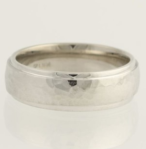 Mens 5.8mm Hammered Wedding Band - 14k White Gold Ring Comfort Fit