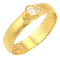 Victorian 22k Yellow Gold Old Mine Cut Diamond Band - Size 6