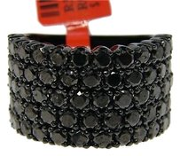 Black On Black Diamonds Pave 15 Mm Band Ring 6.0 Ct