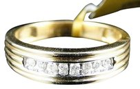 14k Mens Yellow Gold Round Cut Channel Set Diamond Wedding Band Ring 14 Ct