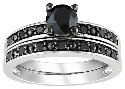 Other Sterling Silver 1 Ct Black Diamond Tw Bridal Set Ring