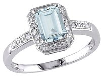 10k White Gold Diamond And 1 Ct Tgw Aquamarine Fashion Ring Gh I2-i3