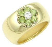 Hammerman Brothers 18k Yellow Gold Peridot Diamond Floral Wide Band Ring