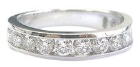 Fine Round Cut Diamond Channel Setting White Gold Band Ring 11-stones 1.00ct