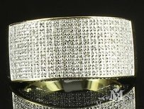 Mens Real Diamond Ring 14k Yellow Gold Finish 1 Carat Weight Celebrity Rapper