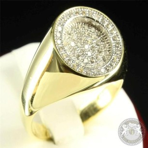 Round Cut Perfection Mens Fashion 14k Yellow Gold Finish Silver Lab Diamond Ring