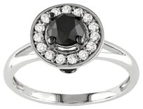 10k White Gold 1 Ct Tdw Black White Fine Diamond Ring Wedding Engagement Band