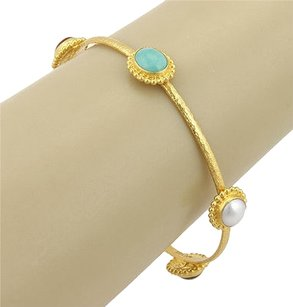 Gurhan 24k Yellow Gold 5 Multi Color Stone Afghan Bangle Bracelet