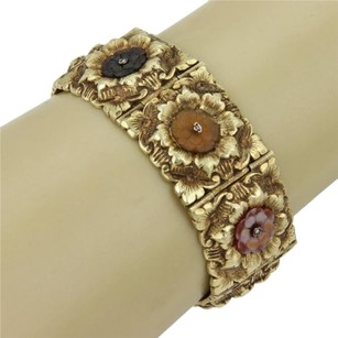 Estate 14k Yellow Gold Multi Color Carved Gemstone Floral Link Bracelet - 6.5