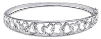 Other Sterling Silver Diamond Accent Heart Interlocking Love Bangle Bracelet G-h I3 7