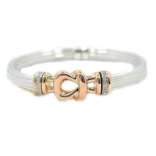 Bangle Bracelet Two-tone Sterling Silver And 14k Rose Gold With Diamonds