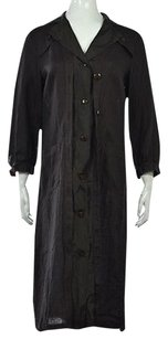 Other Blue Les Copains Womens Basic Linen Long Sleeve Coat Brown Jacket