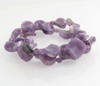Other Beaded Amethyst Bracelet - Double Strand Fashion Jewelry Womens Stretch Purple