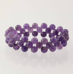 Other Beaded Bracelet - Purple Amethyst Beads Womens Mesh Stretch Band Gemstone