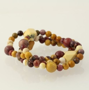 Other Beaded Bracelets - Brown Jasper Mookaite Stone Beads Stretch Band Set Of