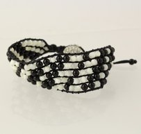 Other Beaded Mesh Bracelet Onyx Mother Of Pearl Rhinestone Black White Adjustable