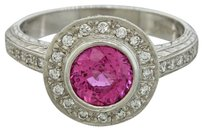 Beautiful Platinum 1.20ct Pink Sapphire & Diamond EGL Certified Engagement Ring