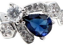 Other Beautiful Sapphire & White Topazes Sterling Silver 925 Ring