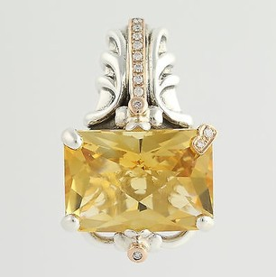 Bellarri Citrine Diamond Pendant - Sterling Silver 18k Gold Fine 9.37ctw