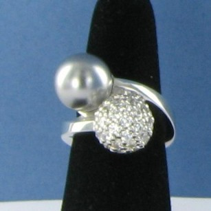 Other Belle Etoile Grey Luxury Ring 925 Sea Shell Pearl Cubic Zirconia