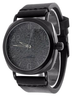 Black Finish Mens Watch Analog Leather Band Water Resistant Stainless Steel Back