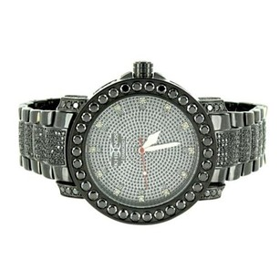 Black Finish Watch Black Simulated Diamonds Iced Out Real Diamond Dial