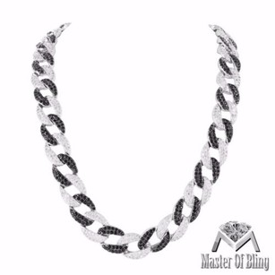 Black White Mens Necklace Simulated Lab Diamonds Iced Out White Gold Tone Classy