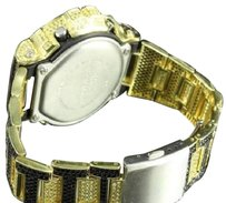 Black Yellow G-shock Watch Iced Out Black Simulated Stone Gold Finish For Men