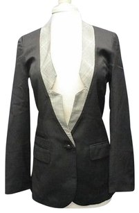 Alex And Eli Black White Wool Long Sleeve Lined One Button Blazer Sma 12330