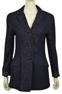 Other Griffith Gray For St John Womens Navy Blazer Textured Causal Jacket Cotton