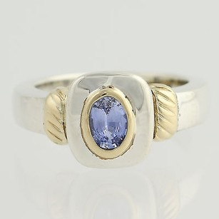 Blue Sapphire Ring - Sterling Silver 14k Yellow Gold Oval Solitaire 0.75ct