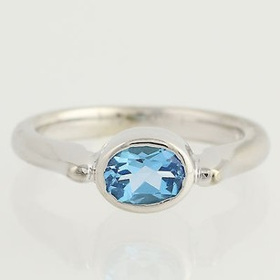 Blue Topaz Solitaire Ring - 14k White Gold Birthstone Oval Genuine 1.10ctw