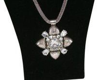 Bold Rhinestone and Silver Tone Statement Necklace NWOT