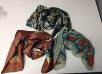 Boutique Lot Of Assorted Patterned Poly Silk Blend Vintage Scarves B3229 J