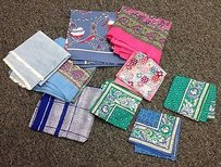 Boutique Pc Vintage Scarf Lot Assorted Blues Pink Floral Paisley Print B2615