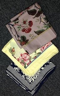Boutique Vintage Pink Yellow Navy Silk Blend Floral Print Square Scarf Lot B2615