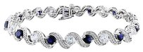 Sterling Silver Sapphire And White Sapphire Bracelet 7.25 7.44 Ct